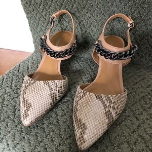 Coach Heels Garland Print Snake and Matte Nude